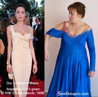 What to look for when buying a used Dancesport ballgown. Our inspiration dress was Angelina Jolie's gown at 50th Emmy Awards in 1998