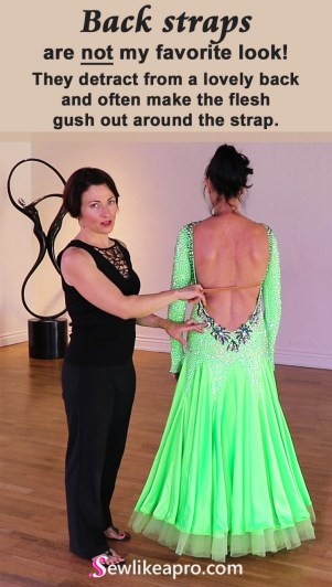 Rhinestoned necklace and a low-cut back are strong focal points on the Dancesport ballgown