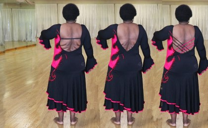open back Latin dance dress, criss cross straps offer bust support