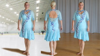 light blue ice skate dress, latin dance dress