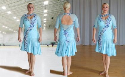 light blue ice skate dress, latin dance dress