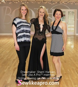 smooth dance dress, mesh leotard, Sherri Hansen, Teresa Sigmon, Sew Like A Pro student