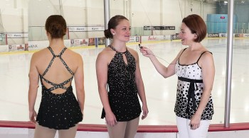 crisscross dress ice skating costume, hero