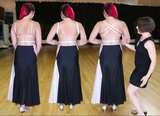 budget ballgown, 3 back views, bra strap, criss cross straps