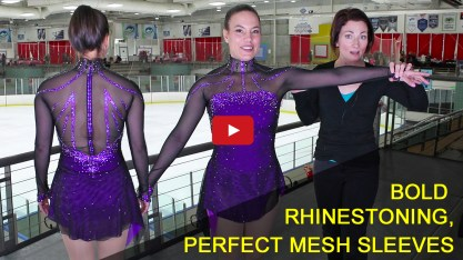 rhinestone pattern, mesh sleeves, women's adult figure skating costume