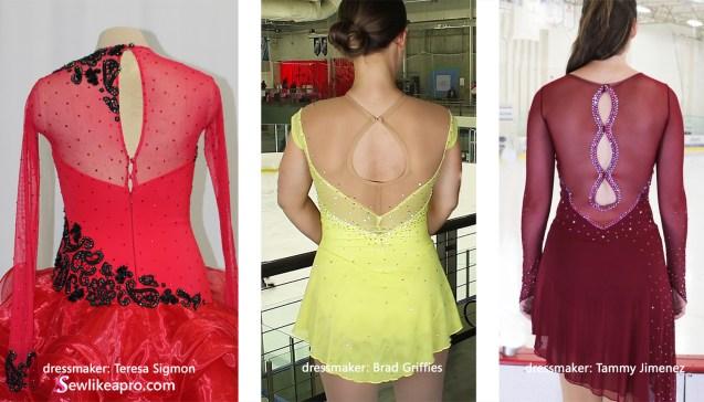 three keyhole back design comparison, Alyssa, Tammy Jimenez, Ice Den Chandler