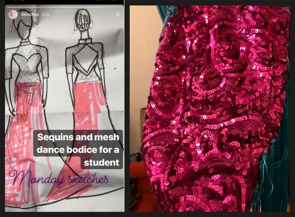 sequin fabric to make sequin appliques, ballgown sketch, Lauren Wilmore Made by LaLa, sequin dress