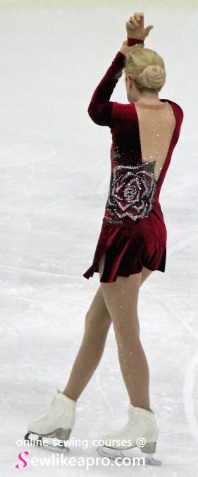 invisible back zipper velvet red figure skating costume, back on ice 3