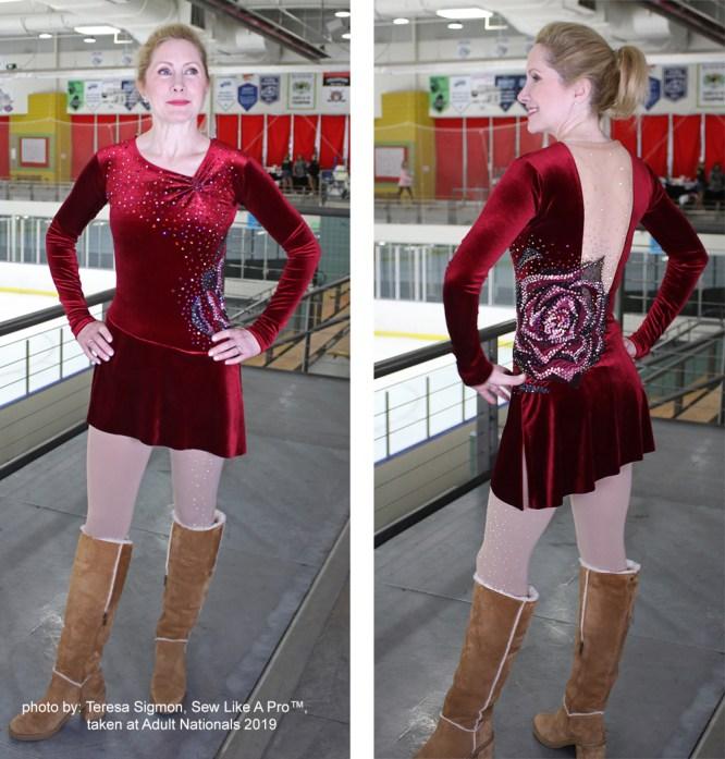 invisible back zipper velvet red figure skating costume, front back