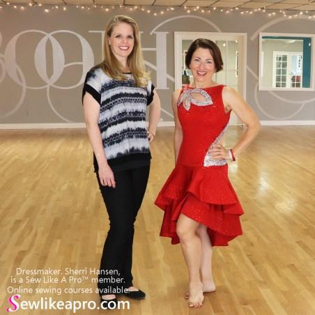 Sherri Hansen, dressmaker, Teresa Sigmon ballroom dancing costume Latin dance dress