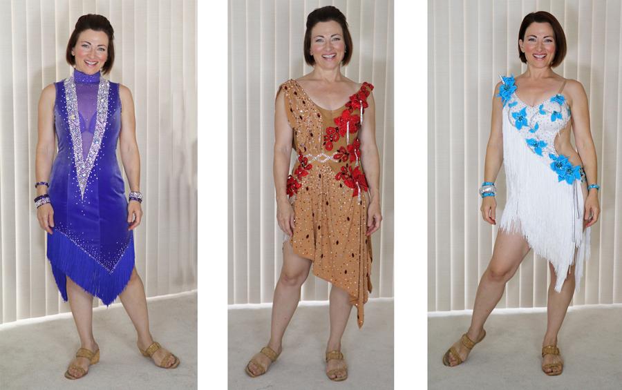 design a dress, 3x Tammy Arriola Sew Like A Pro dressmaker, Latin dance dress, ballroom dance costume, Teresa Sigmon