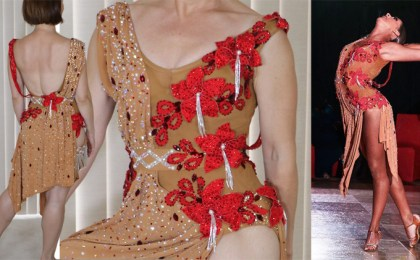 design a dress, Tammy Arriola Sew Like A Pro dressmaker, Latin dance dress, ballroom dance costume, red fabric flowers
