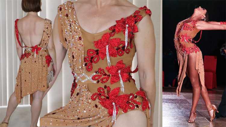 design a dress, Tammy Arriola Sew Like A Pro dressmaker, Latin dance dress, ballroom dance costume, red fabric flowers