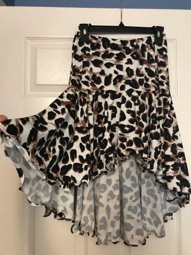 animal print practice dancewear skirt with fishing line hem