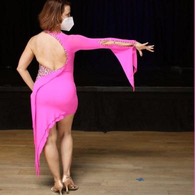 stretch dance crepe, raglan sleeve, points on consistent design Latin dance dress