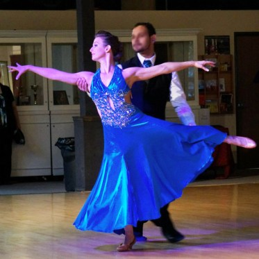 Christina Musser, head instructor at Spotlight Ballroom in West Sacramento, CA, wears a charmeuse ballroom dance dress