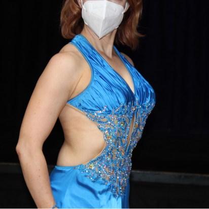 halter neckline ruching charmeuse ballroom dance dress Christina Musser of Spotlight Ballroom, West Sacramento, CA