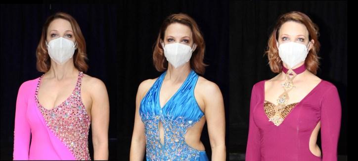 ballroom dance costumes modeled by Christina Musser of Spotlight Ballroom, West Sacramento California