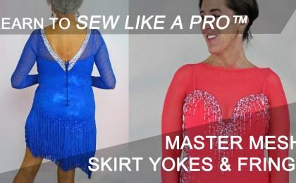 Learn to sew mesh, skirt yokes, fringe skirts for Ballroom Smooth dancing dress, Latin dance dress, Country dance dress, ice skating costume