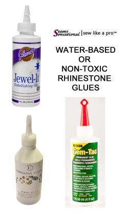Non-toxic, water-based glues are a great option for gluing rhinestones to Ballroom, Country and skate dresses.