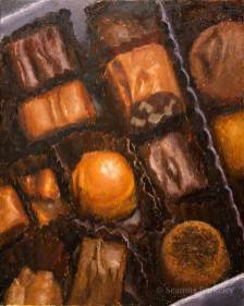 "Box of Chocolates, oil on canvas, 30"" x 24"""