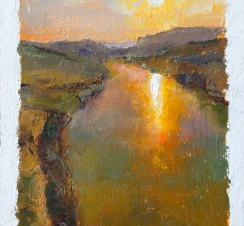 Colorful oil painting of a sunset at the confluence of the Colorado and Dirty Devil Rivers in Utah, United States.
