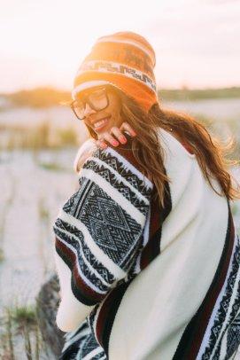 Boho beach girl on west coast smiling-1