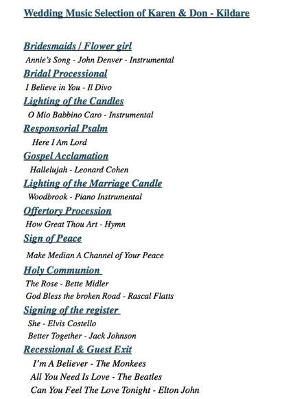 Wedding Music Selection Dublin