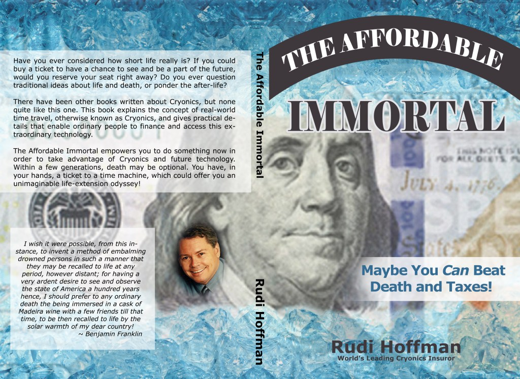 """Jacket art for the book """"The Affordable Immortal"""" by Rudi Hoffman"""