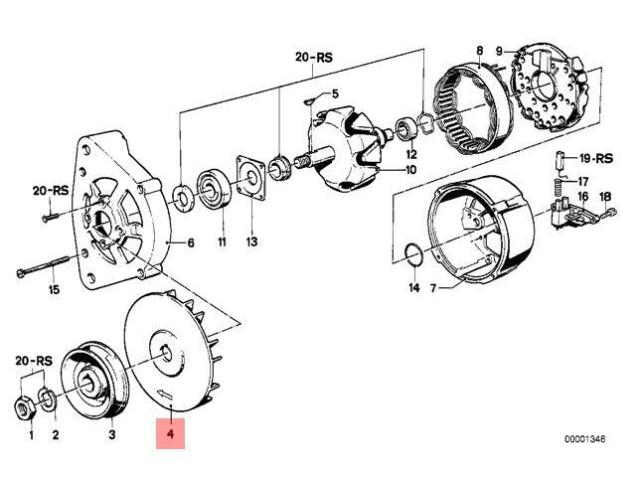 Genuine BMW 02 E12 E21 E23 E24 E26 E28 Alternator Fan