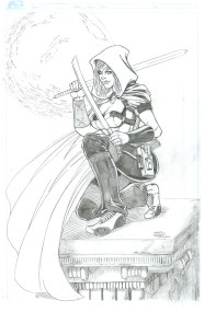 Scarlet Huntress Print (pencils), Lineart by Sean Forney