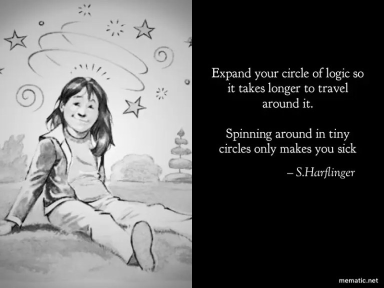 Expand your circle of logic so it takes longer to travel around it.