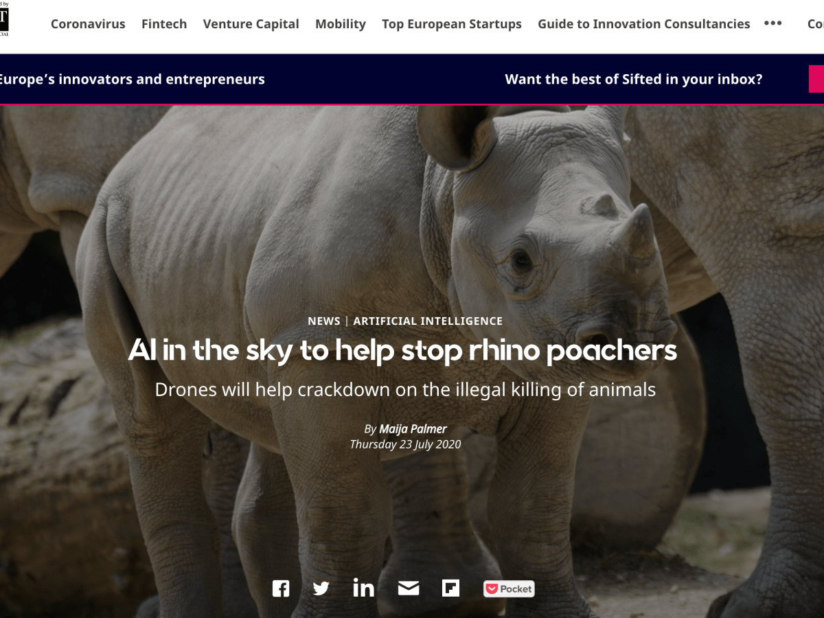 AI takes to the Sky to protect rhinos from poachers