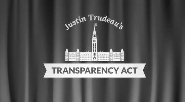Tories want to keep the curtain drawn on government, giving a thumbs down to Liberal leader Justin Trudeau's Transparency Act (Graphic by Liberal Party of Canada)