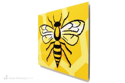 lego bee bumblebee mural mosaic artwork