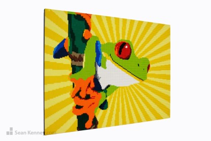 lego tree frog mural mosaic artwork