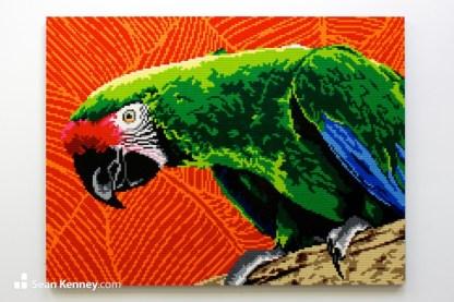 lego parrot mural mosaic artwork