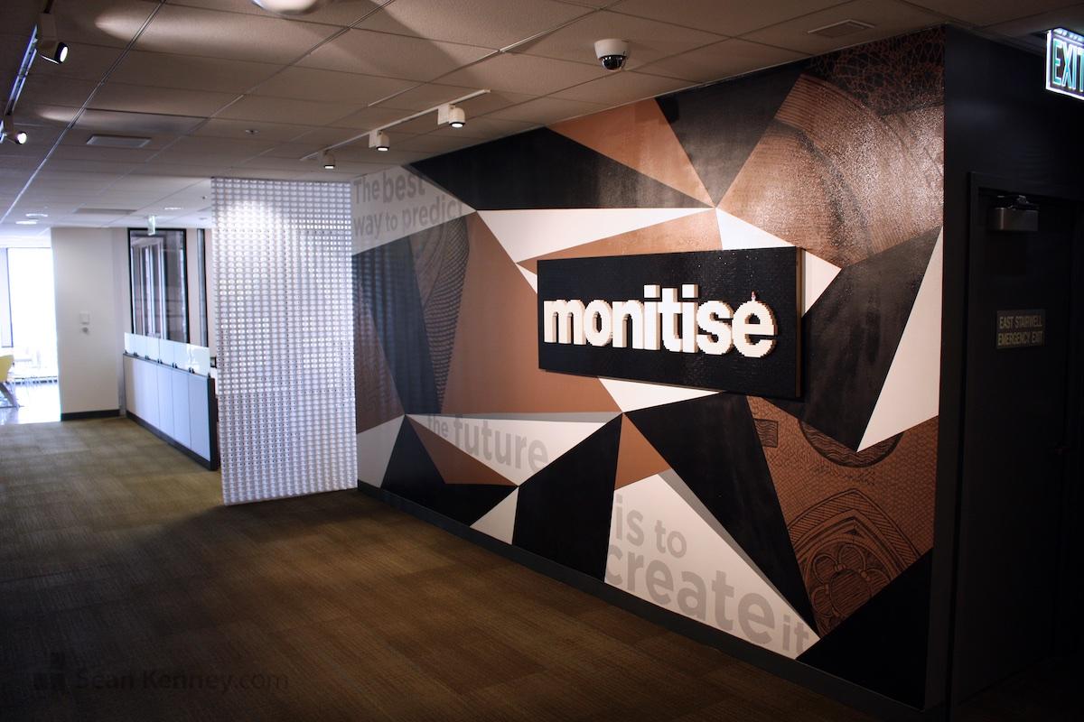 Sean Kenneys art with LEGO bricks  Monitise logo