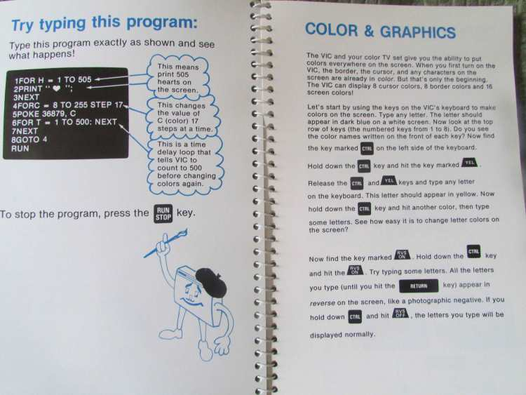 Poking away in my VIC-20 user guide.