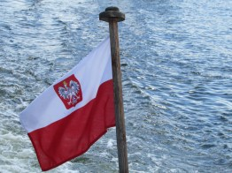 The Polish flag on the Bay of Danzig
