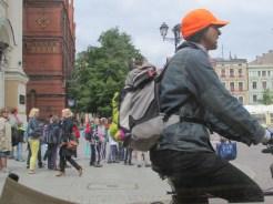 A bicyclist in Torun, Poland