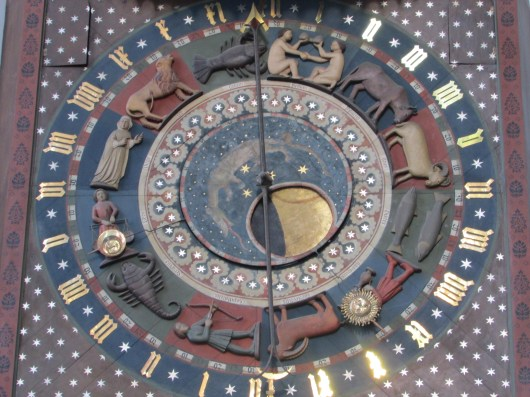 The astronomical clock in St Mary's Church, Danzig.
