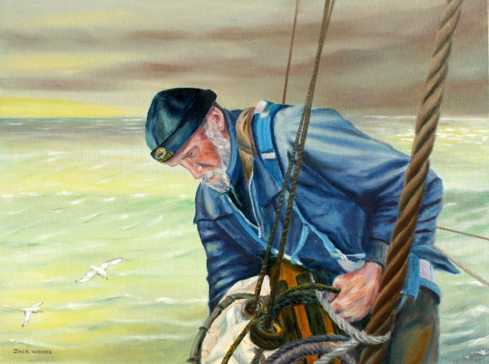 Furling the Topsail seapainting marine art jack woods
