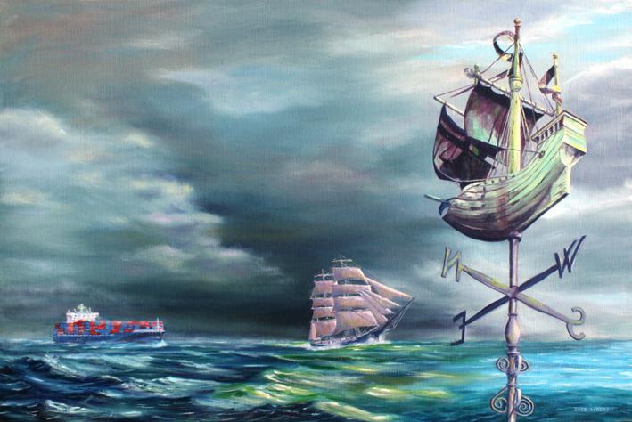 Windvane - Heading to a safe port seapainting marine art jack woods