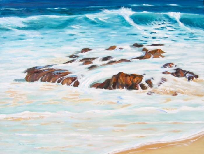 rocks mallacoota seapainting marine art jack woods