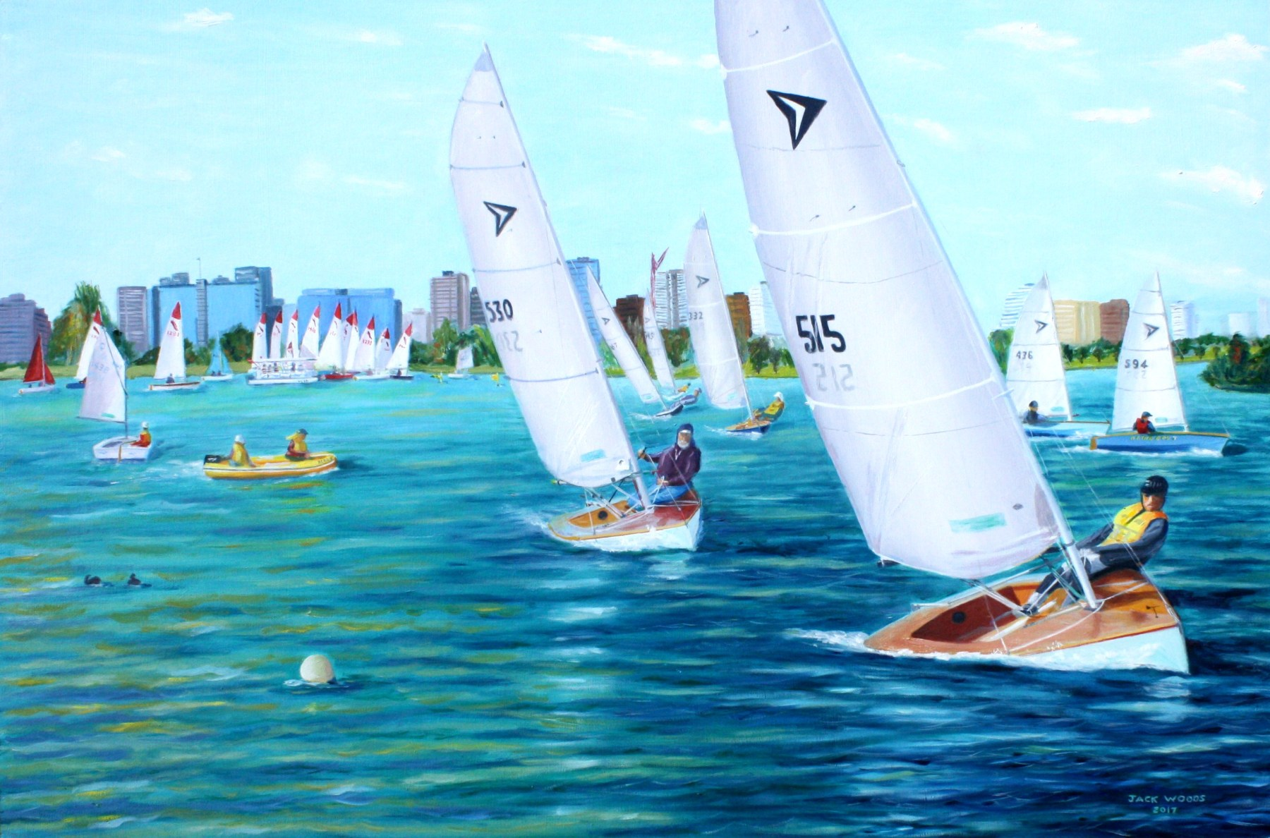 racing albert park lake Impulse dinghy seapainting jack woods marine artist