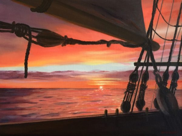 marine art jack woods sunset seapainting tall ships