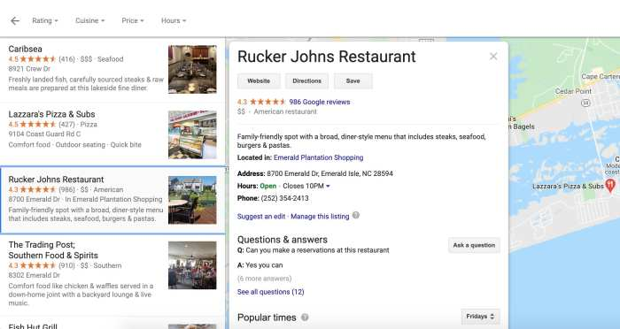 Google search result for business that has a website
