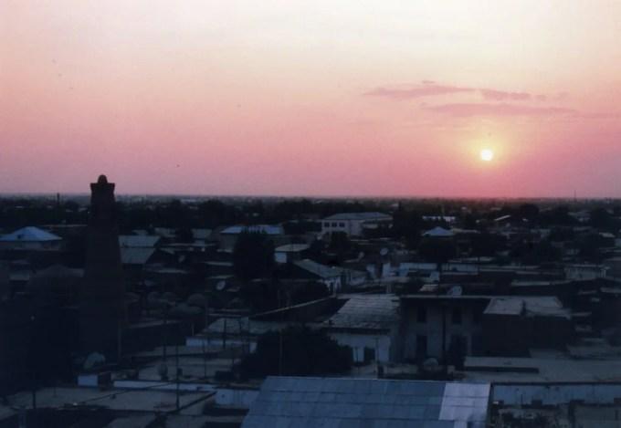 アクシェイフ・ババの見張り台から眺めるイチャン・カラの夕景【ウズベキスタン(ヒヴァ)】