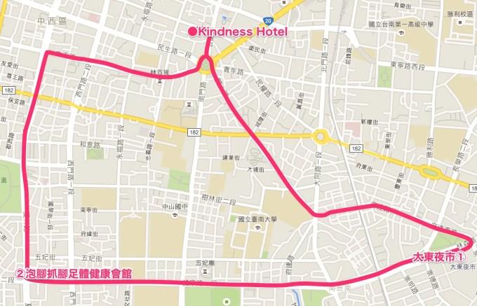 台湾マップ(大東夜市・泡腳抓腳足體健康會館)